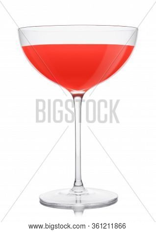 Cosmopolitan Cocktail In Luxury Crystal Glass With Pink Cherry On White Background. One Of The Most
