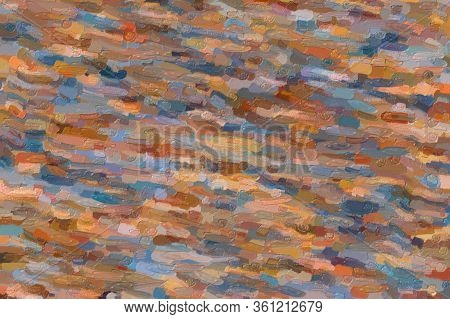 Blue, Yellow And Brown Waves Large Color Variation Impasto Abstract Paint Background.