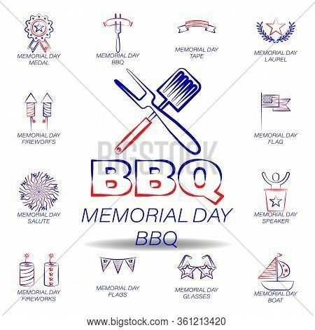 Memorial Day Bbq Colored Icon. Set Of Memorial Day Illustration Icon. Signs And Symbols Can Be Used