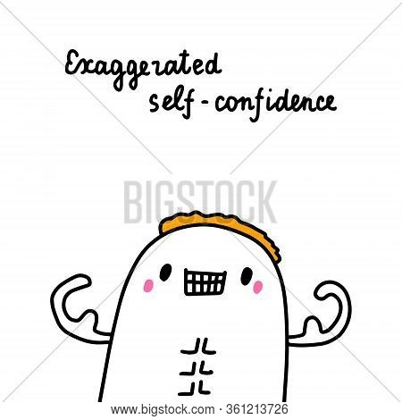 Exaggerated Self-confidence Bipolar Disorder Symptom Man Expressive In Cartoon Comic Style