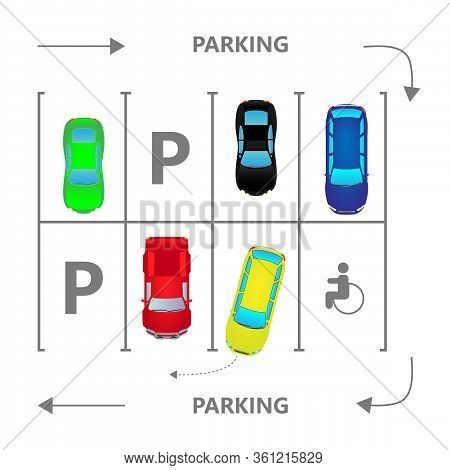 Top View City Car Parking Vector Illustration. Different Cars In Flat Style. Parking Zone