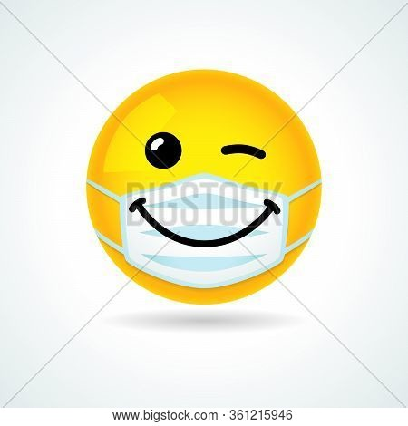 Emoji Smile Face With Guard Mouth Mask. Yellow Winking Emoticon Wearing A White Surgical Mask. Vecto