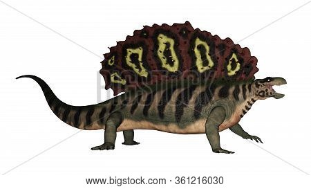 Edaphosaurus Prehistoric Animal Walking And Roaring Isolated In White Background - 3d Render