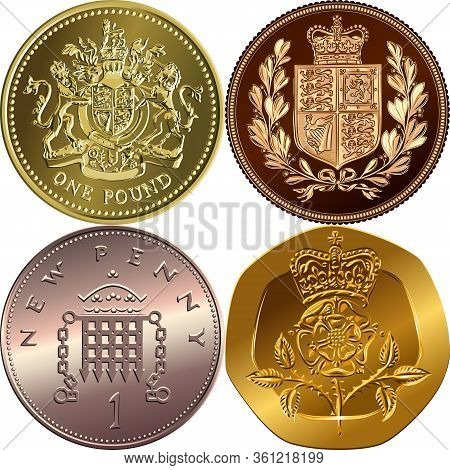 British Money Coins: Gold One Pound Sterling, Sovereign With Coat Of Arms, Bronze New One Penny With