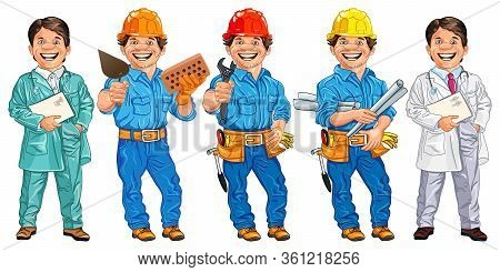 Vector Set Of Happy Doctor, Veterinarian, Locksmith With The Adjustable Spanner, Mason With Brick An