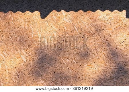 Close-up View Of A Plywood Surface With Black Meandering Shadow From The Roof.  Black Leaf Shadow On