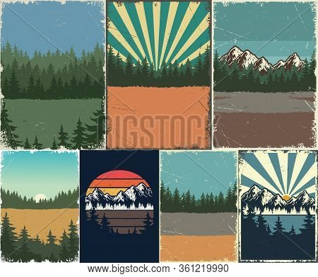 Vintage Nature Landscapes Posters Set With Forest Mountains Sunset Sceneries And Sunbursts Backgroun