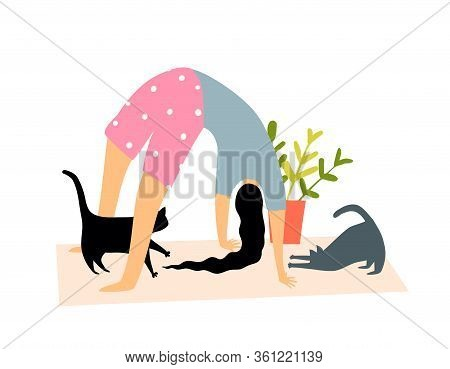 Woman Practice Yoga At Home On Yoga Mat. Cats Looking At Young Girl Doing Yoga Bridge Pose Or Asana.