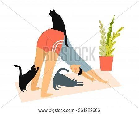 Man With Cats Doing Yoga Downward-facing Dog Pose Or Asana At Home, Humorous Fitness Motivation Cart