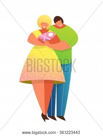 Happy Parents Smiling Holding Together Newborn Baby. Young Parents Couple With Child Hugging. Mom An