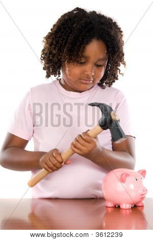 Girl With Hammer And Money Box
