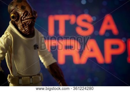 APRIL 13 2020: Star Wars Admiral Ackbar with his famous quote 'ITS A TRAP!' from Return of the Jedi - Hasbro action figures