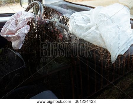 Both Airbags Deployed In A Hit And Run Accident.  Interior Of A Automobile Involved In A Front Crash