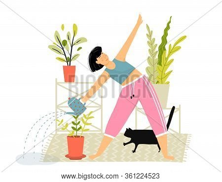 Woman Watering Flowers Daily Routine Funny Mistake, Spill Water On The Floor. Funny Cartoon Girl Doi
