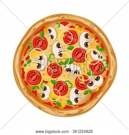 Top View Pizza With Various Ingredients. Whole Pizza With Mushrooms, Tomatoes, Onions, Peppers And C