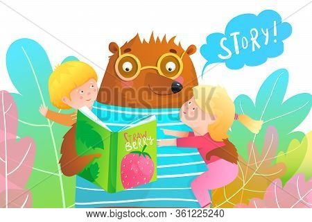 Cartoon Bear Reading A Story From The Book And Holding Two Little Smiling Little Kids A Boy And A Gi