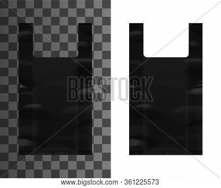 Black Plastic Bag With Handles, Vector Realistic Mockup Template. Recyclable And Biodegradable Dispo