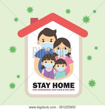 Covid-19 Coronavirus Quarantine Of Stay Home Order Flat Design. Cartoon Family Wearing Medical Face