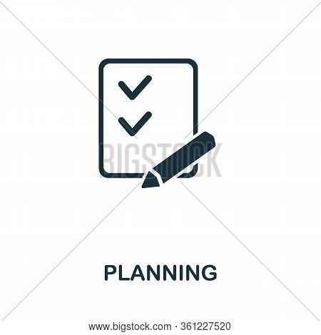 Planning Icon From Personal Productivity Collection. Simple Line Planning Icon For Templates, Web De