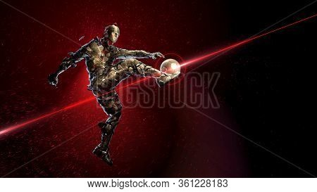 Bronze Soccer Player Holding A Jump Kick. Broken Into Small Fragments Against A Background Of Sparks