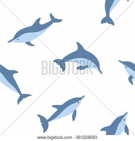 Dolphin Seamless Pattern. Vector Illustration In Cartoon And Flat Style On White Background
