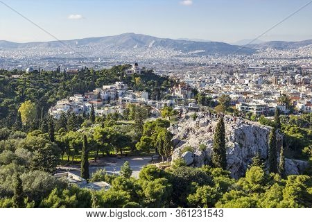 Areopagus Hill And Aerial View Of Athens From Acropolis, Greece