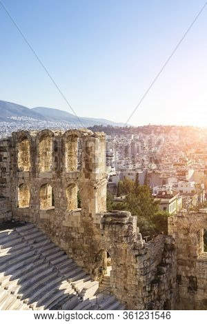 Odeon Of Herodes Atticus Roman Theater And Aerial View Of Athens, Greece