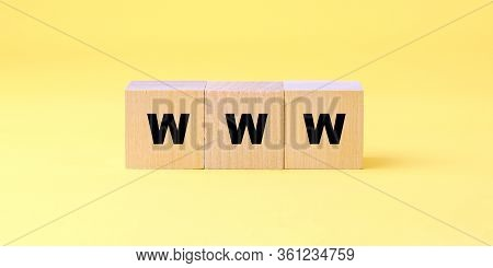 Www Inscription On Wooden Block Isolated On Yellow Background Online Communication Concept