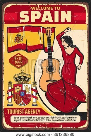 Welcome To Spain, Tourism And Travel Agency Vector Vintage Poster. Spanish Culture And Historic Land