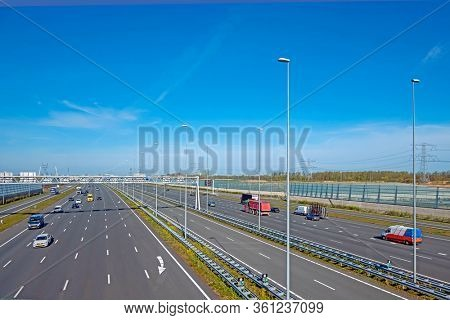 Highway A1 near Amsterdam in the Netherlands during the Corona Crisis