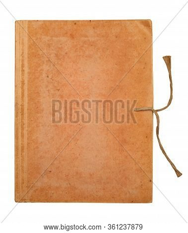 Top View Of Old Closed File Document Folder With Aged Cardboard Covers And Thread Rope Binding Isola
