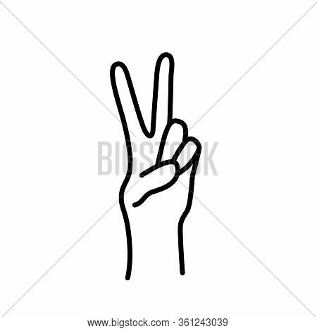 Peace Sign. Victory Sign. Hand Gesture The V Symbol Of Peace. Korean Finger Symbol For Victory. Vect
