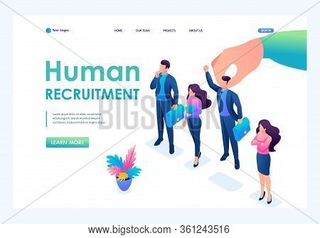 Isometric Employer Hand Choosing Man From Selected Group Of People, Recruiting Concept. Landing Page