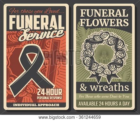 Funeral Service, Burial Ceremony And Church Farewell Memorial. Funeral Floral Wreath And Black Rip R