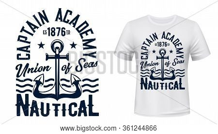 Ship Anchor And Ocean Waves, Vector Navy Blue T-shirt Print Template Mockup. Captain Academy And Sea