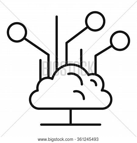 Backup Data Cloud Icon. Outline Backup Data Cloud Vector Icon For Web Design Isolated On White Backg