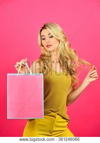 Home Shopping. Girl Shopper Hold Paperbag Package. Buy Presents Online. Gift Shop For Any Holiday. S