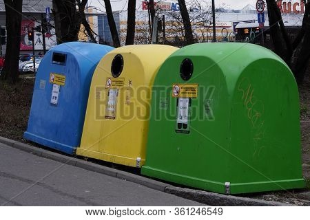 Krakow, Poland 05.01.2019: Garbage Bins Of Different Colors For Separate Collection Of Garbage And F