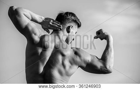 Bigger Muscles Grow. Increase Overall Muscle Mass. Man Muscular Chest Naked Torso Sky Background. Ma