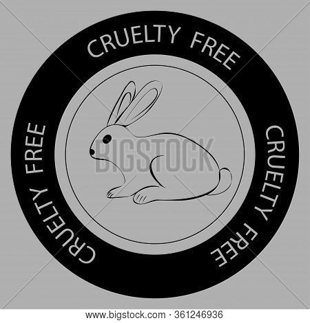 Cruelty Free. Rabbit Symbol With Lettering Cruelty Free Around. Icon For Products, What Are Not Test