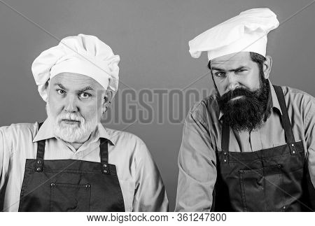 Cooking Process. Serious Men In Cook Hat. Mature Bearded Chef. Tired Of Cooking. Masters Of Kitchen.