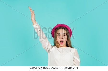 Individual Style. Girl Wear Hat Blue Background. Summer Accessory Collection. Happy Kid In Hat. Fash
