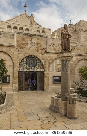 Bethlehem, Palestine, January 28, 2020: City Of Bethlehem. The Church Catherine Next To The Basilica
