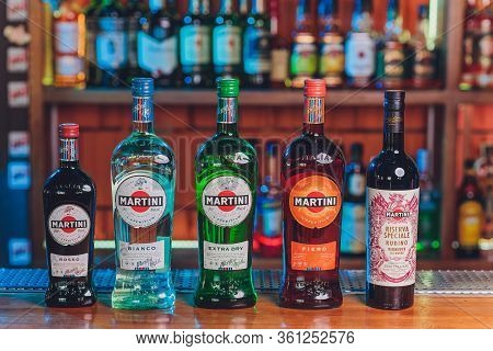 Ufa, Russia, 2 January, 2020: Martini Bottle. Martini Is A Brand Of Italian Vermouth, Named After Th