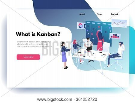 Web Site Design Template. Agile Methodology: Scrum Or Kanban For Project Management Concept. Group O