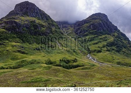 Water Pouring Off The Three Sisters Of Glen Coe After Heavy Rain  Coire Nan Lochan With Gearr Aonach