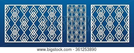 Laser Cut Panel. Abstract Geometric Pattern With Lines, Diamonds, Rhombuses. Elegant Decorative Temp