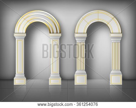 Arches With Columns In Wall, Interior Gates With White Pillars And Gold Decoration In Palace Or Cast