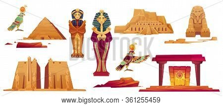 Ancient Egypt Landmarks. Vector Icons Set Of Sculptures Of Egyptian Gods, Sphinx, Pyramid And Golden