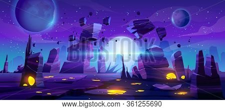 Space Game Background, Night Alien Fantasy Landscape With Flying Rocks, Planets In Dark Starry Sky.